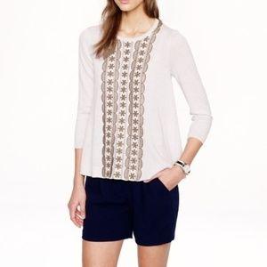 J Crew Embroidered Thin Merino Wool Spring Sweater